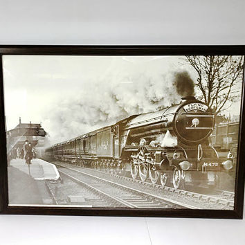 Vintage Reproduction 1929 Flying Scotsman London North Eastern Railway Train Print Palmers Green Station Framed Large 23x32 Train Decor
