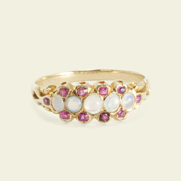 Victorian Opal and Ruby Ring