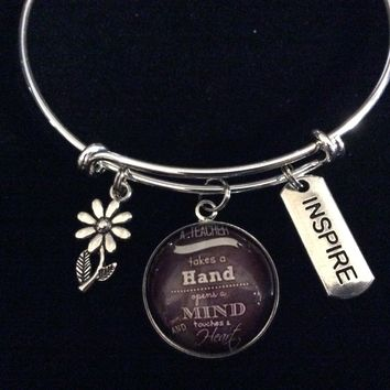 Inspire A Teacher Takes a Hand Touches a Heart Adjustable Bracelet Expandable Silver Charm Bangle Gift Trendy School One Size Fits All Gift