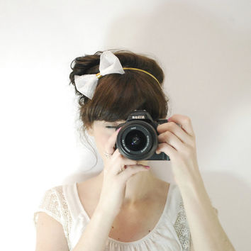 White tulle headband - Tulle bow headband - Romantic everyday hair accessories - Tulle hair accessories - Simple tulle hair accessories
