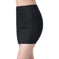 Mini Bodycon Pencil Skirt Lace Black White Stretch Tight Tube Bandage Slim Short Dress