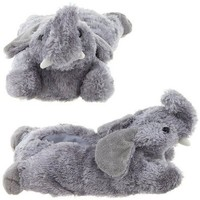 Wishpets Grey Elephant Feet Plush Animal Slippers