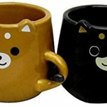 You&I Brown & Black Shiba Inu Dog Pair Mug Cup Brown & Black LF-0959