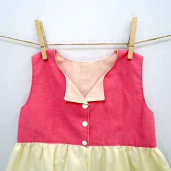Girls Pink Bubblegum Top 5T 6 Peplum Button Up Upcycled Eco-friendly