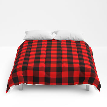 Classic Red and Black Buffalo Check Plaid Tartan Comforters by podartist