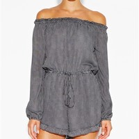 MICRO CHECK LONG SLEEVE PLAYSUIT
