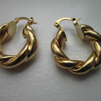 Gold hoop earrings gold pierced earrings gold earrings round gold filled earrings pierced round gold earrings on sale clearance