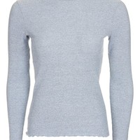 Long Sleeve Frill Neck Top - Tops - Clothing