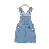 Raw-Cut Denim Suspender Skirt With Big Front Pocket