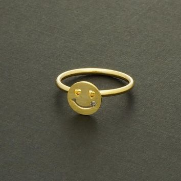 Cubic Smile Face Ring / heart eyes ring, beauty mark ring, mole ring, CZ mole on face, smiley face ring / R011