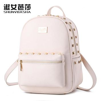 Student Backpack Children 2017 New pu leather Fashion Backpacks Female students backpack casual Korean high quality women bag temperament lady backpack AT_49_3