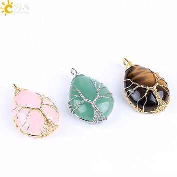 CSJA Gold Color Tree of Life Wire Wrap Water Drop Necklace Pendant Natural Gem Stone Pink Quartz Tiger Eye Green Aventurine E585