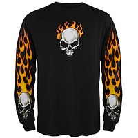 Flame Skull Long Sleeve T-Shirt