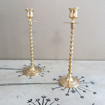 Vintage Brass Candle Holders Taper Candle Holders Candlesticks Brass Candlesticks Tall Candlesticks Vintage Brass Vantage Candlesticks