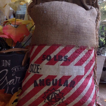 Vintage burlap red and white stripe pillow, vintage burlap pillows, rustic decor pillows