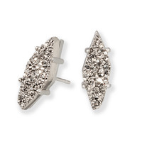 Kendra Scott: Brook Silver Stud Earrings In Platinum Drusy