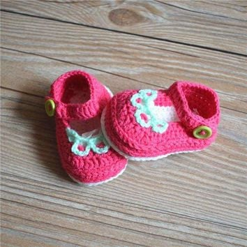 Handmade Crochet Mary Jane Baby Shoes