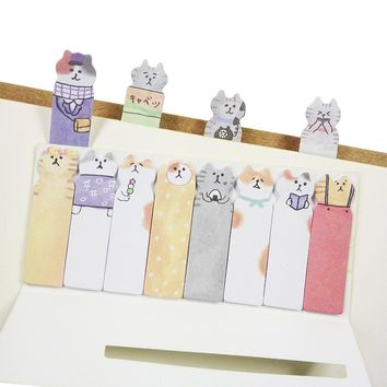 1 Pack/lot Cartoon Cat Memo Pad Sticky Notes/Paper Stickers 4 Colors