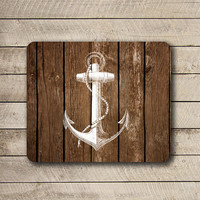 Vintage White Anchor Dark Wooden Mouse Pad Black Drawing Desk Deco Rubber PAGala Navy MousePad Wooden Computer Pad