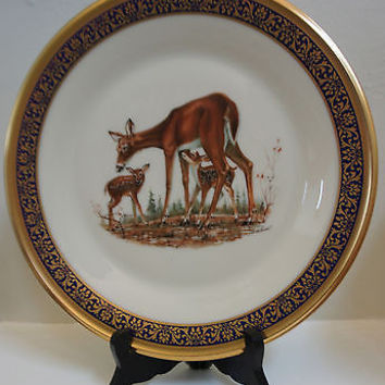 24K Lenox Fine China Woodland Life Collection 6th Issue Whitetail Deer