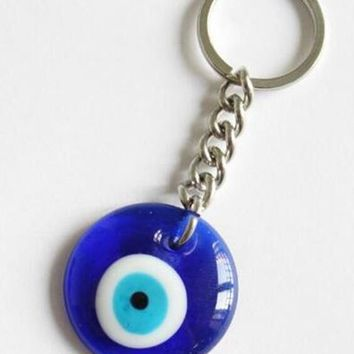 30mm Turkish Blue Evil Eye Nazar Glass Charms Pendant Key Chain Protection Key Ring Jewelry Gift 20 Pcs