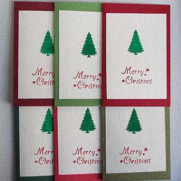 Christmas Card Set, Traditonal, Merry Christmas,TREE, Simple , Stationery Set, Embossed, Handmade,Gift