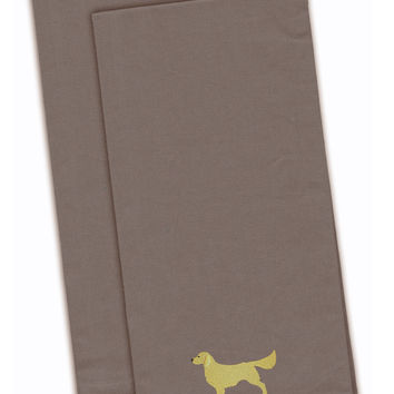 Golden Retriever Gray Embroidered Kitchen Towel Set of 2 BB3404GYTWE
