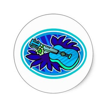 Ukulele with leaves and flowers circle, blue round sticker from Zazzle.com