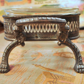 Unique Vintage Silver Plated Casserole Loaf Dish Holder with Claw Feet - Wedding Reception