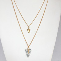Double Arrowhead Layered Necklace