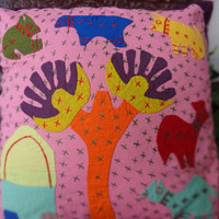 Set of 5 Patchwork Cushion Cover,Handmade Village Theme Cushion Cover,Size 40 x 40 Cm,Hand Embroidery Cushion,Kids Bedding,Home Decor