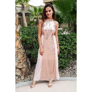 True Love Rose Pink Sequin Halter Maxi Dress