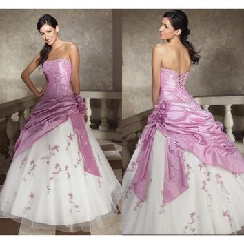 Lilac Long Prom Dresses Strapless Lace Up  Quinceanera Dress
