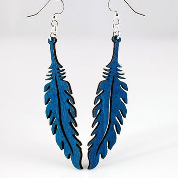 Wooden Feather Earrings Laser Cut from by GreenTreeJewelry