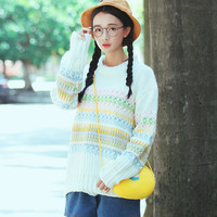 Sweet Multi Knitting Long Sleeve Pullover Sweater For Woman