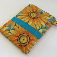 Sunflowers Kindle Cover / Yellow Flower Nook Case / Ereader Sleeve / Tablet
