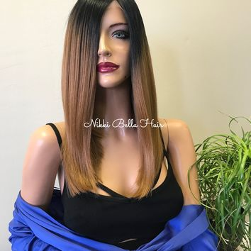 Brunette Ombre Balayage Highlights 14 inches | Swiss Front Lace Wig | Soft Layered Hair | Balani