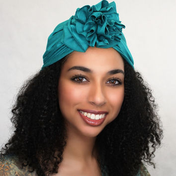Emerald Teal Flower Turban