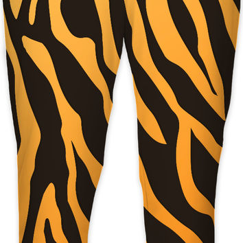 Tiger stripes pattern joggers, animal fur themed jogging sweats, black and orange