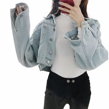 Trendy 2018 Fashion Women Autumn Casual Jeans Coats Fashion Loose Batwing Sleeve Cropped Short Denim Jacket AT_94_13