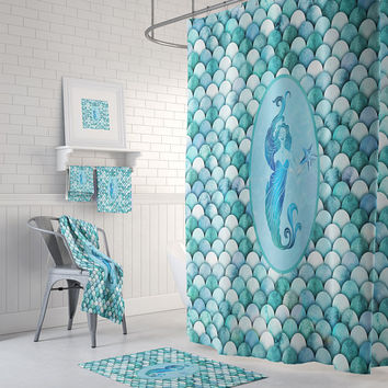Mermaid Scales  Shower Curtain , Bath Towels , Bath Mat