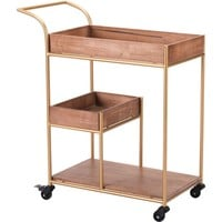 Brown Bar Cart With Tray