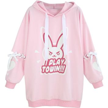The Game OW D.VA Hoodie Rabbit Pattern Cotton Fleece Tied Long Sleeve Pullover Cosplay Costume Free Shipping