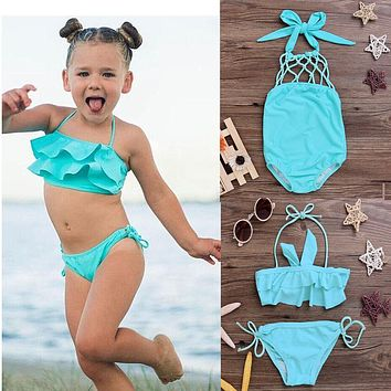 ITFABS children swimwear falbala girls swimwear baby kids biquini infantil swimsuit bikini girl 2017 New summer bathing suit