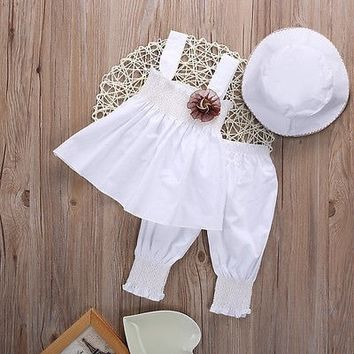Toddler Baby Girls clothes Casual Cotton tops + pants + hat Summer Kids Outfits Suit 0-24M