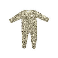 Kardashian Kids Girls Leopard Print Asymmetrical Snap Front Footie with Fold Over Mitten Cuffs