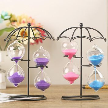 Home Table Tea Decoration Craft Iron Frame Sand Glass Hourglass Sand Timer Clock Sandglass For Friends Kids Toys Birthday Gift