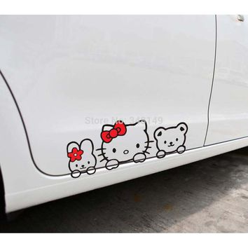 Car Accessories Hello Kitty Car Stickers Lovely Cat Decal for Toyota Ford Chevrolet Volkswagen Honda Hyundai Kia Lada golf polo