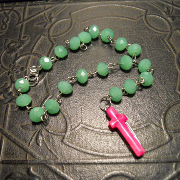 Mint Green and Pink Secret Knife Cross Rosary by TheCuriositeer