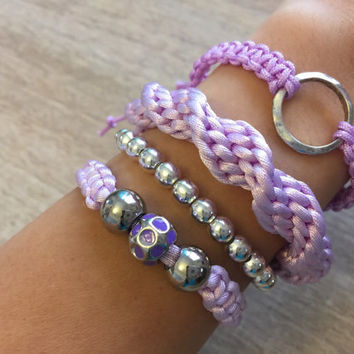 Multilayer Bracelet, Arm Candy, Purple Bracelets, Bracelet Set, Arm Party, Gift for her, Friendship Bracelet, Macrame Jewelry, Lilac jewelry